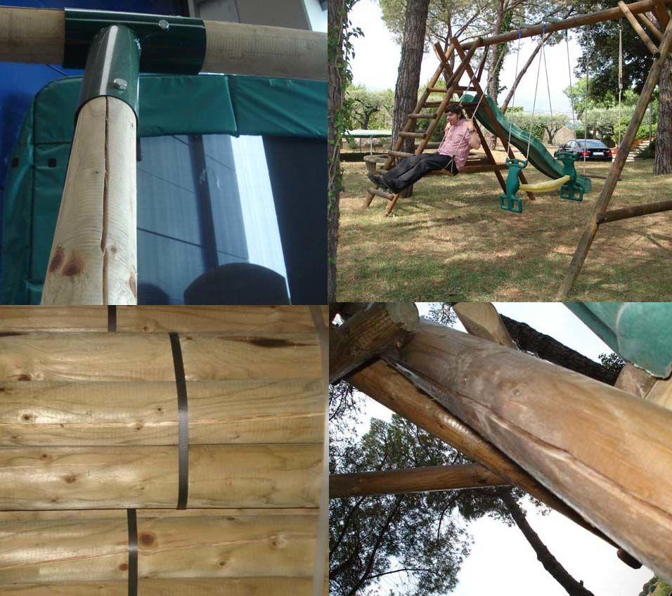 las grietas en las maderas de los columpios son normales